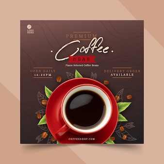 コーヒーショップの正方形のチラシテンプレート