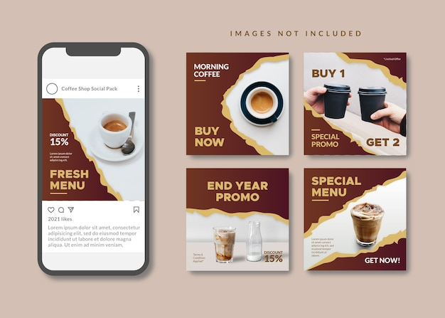 Coffee shop square social media template for instagram, facebook, carousel.