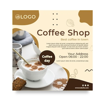 Coffee shop squared flyer template