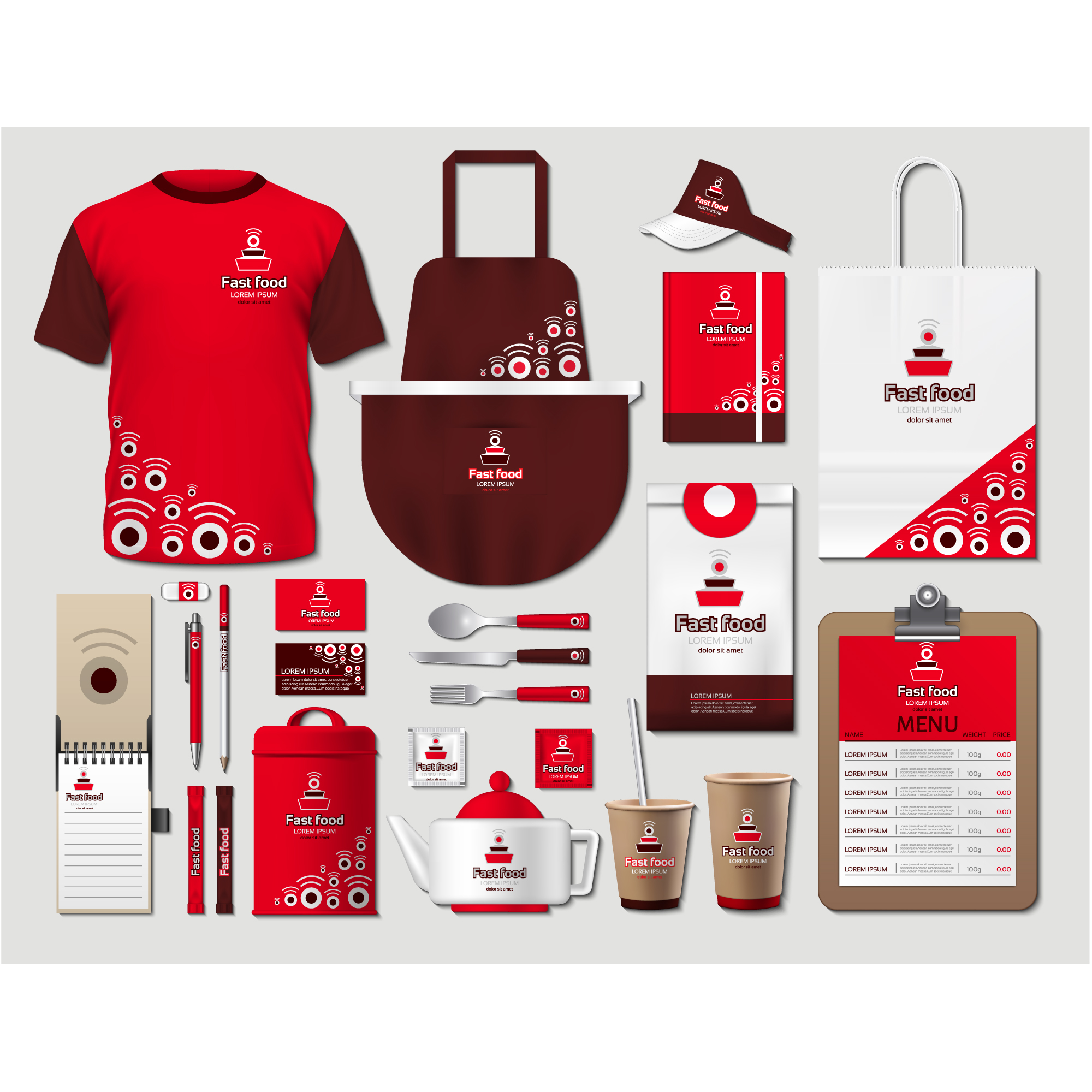 Coffee shop stationery with red design