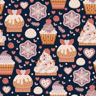 Coffee shop sweets cookies seamless pattern with bakery products.