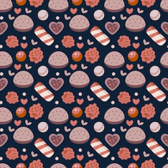 Coffee shop sweets seamless pattern. cafe background. delicious candies and jelly with bakery products. vector illustration for design of menu for sweet shoppe, candy store, tea shop