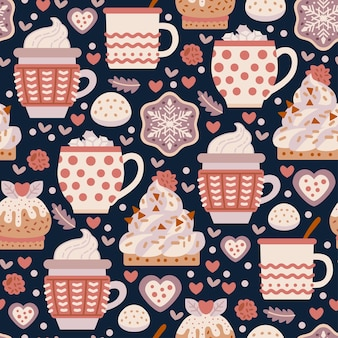 Coffee shop sweets seamless pattern with cacao drink. cafe background.