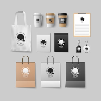 Coffee shop template set, coffee package design for corporate