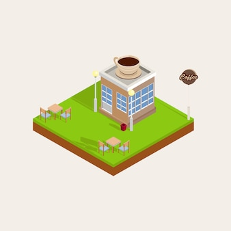 Coffee shop top view