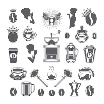 Coffee shop vector design elements objects and icons set.