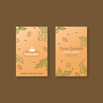 Coffee shop vertical business card template