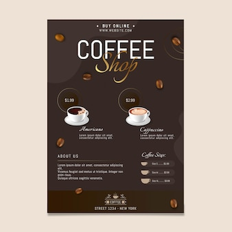커피 숍 수직 전단지 서식 파일