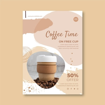 Coffee shop vertical flyer template