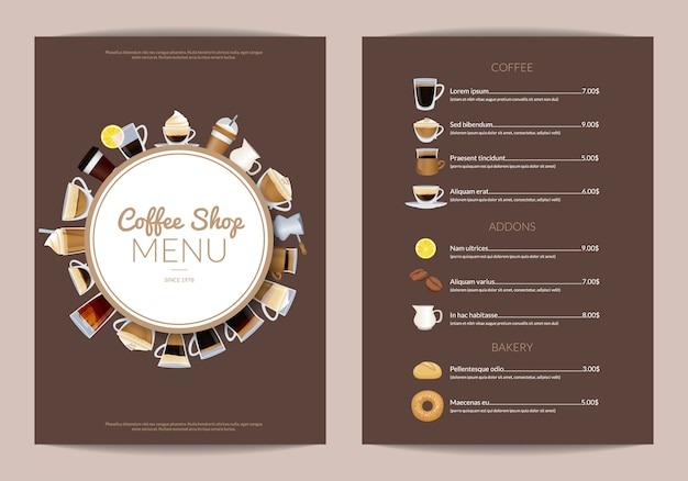 Coffee shop vertical menu template. cafe menu wi drink cup espresso and cappuccino