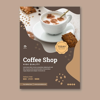 Coffee shop vertical poster template