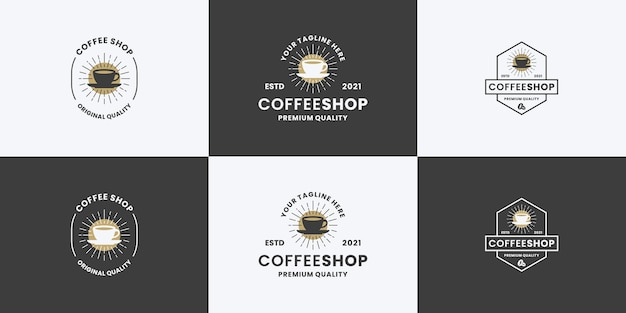 コーヒーショップヴィンテージロゴデザインバンドルコレクション