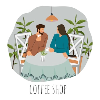 Coffee shop visitors. flat illustration of a young couple, sitting at the table with coffee, lamps above surrounded by plants