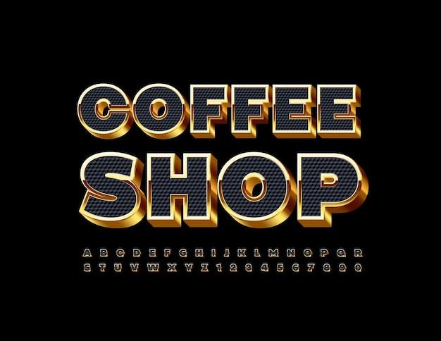 검은색과 금색 글꼴 3d 엘리트 알파벳 문자 및 숫자 세트가 있는 커피숍