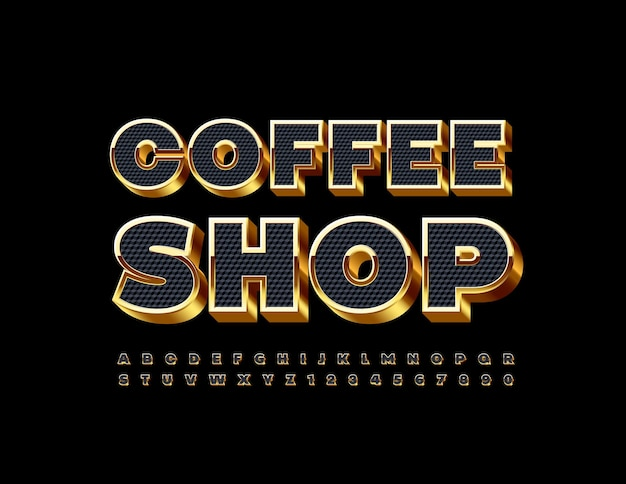 Coffee shop with black and gold font 3d elite alphabet letters and numbers set
