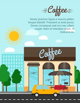 Coffee shop with city landscape banner template