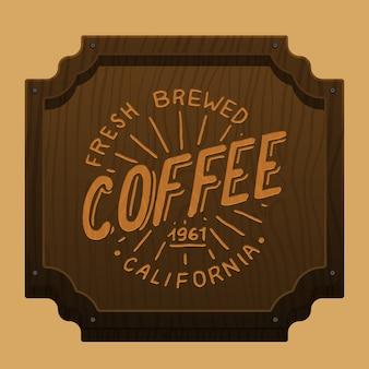 カフェやレストランのコーヒー看板。刻まれた手描き。朝の朝食。木製の背景、トップビュー。
