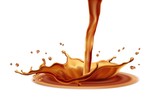 Coffee splash elementson white background