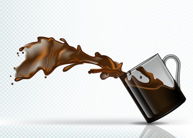 떨어지는 유리에서 커피 얼룩