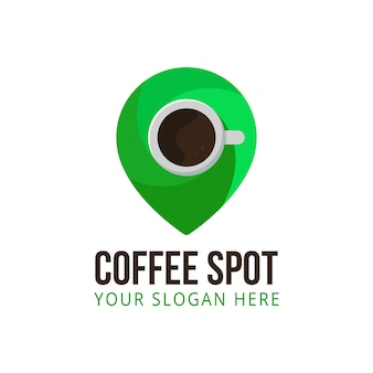 Coffee spot pin point icon logo location vector