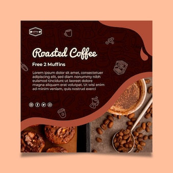 コーヒーの正方形のチラシテンプレート