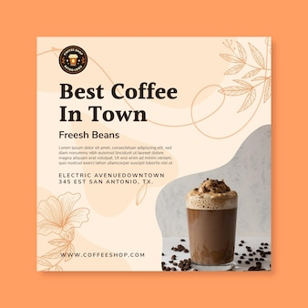 Coffee squared flyer template