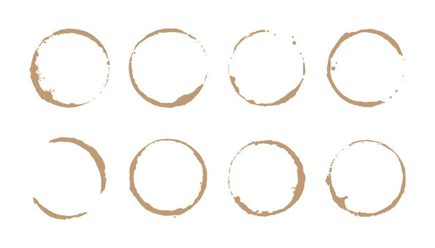 コーヒーステインリングセット。ベクトルイラスト。丸い形とスプラッシュ要素のステインスタンプを飲みます。コーヒーカップのボトムサークル効果。