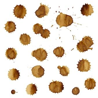 커피 얼룩 세트 그림 절연