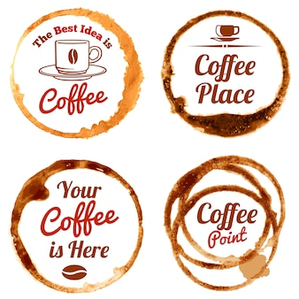 Coffee stains vector logos and labels set