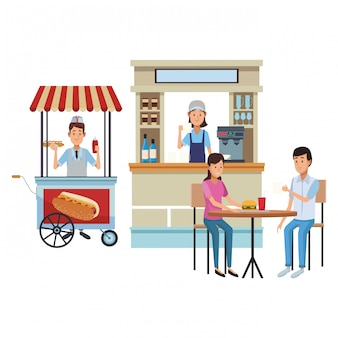 Coffee store cartoons