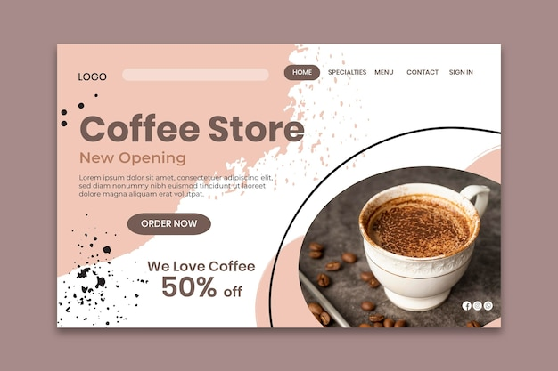Coffee store  landing page template