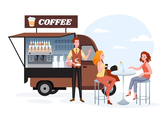 Coffee street market truck. cartoon van car stall on sidewalk, woman friend characters sitting at table of outdoor marketplace cafe, waiting for waiter with cup of hot coffee drink