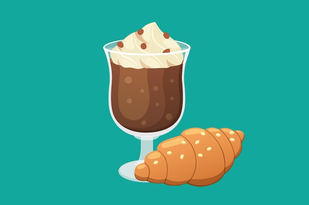 Coffee and sweet dessert   illustration.