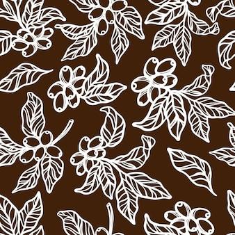 갈색 단색 디자인의 열매와 잎 커피 나무의 커피 식탁보 가지