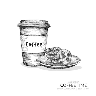 Coffee take away cup and cookies. set of coffee time illustration.
