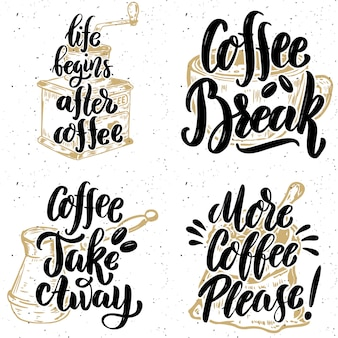 Coffee take away. more coffee please. hand drawn lettering quotes on grunge background.  illustration