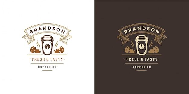 コーヒーマグカップシルエットとショップのロゴのテンプレートを奪う