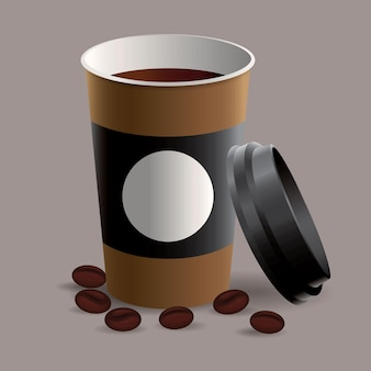 Coffee in takeaway cup with coffee beans illustration