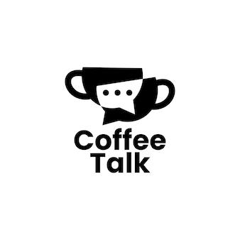 Кофе разговор чат пузырь форум сообщество логотип вектор значок иллюстрации
