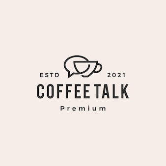 Coffee talk chat bubble hipster vintage logo