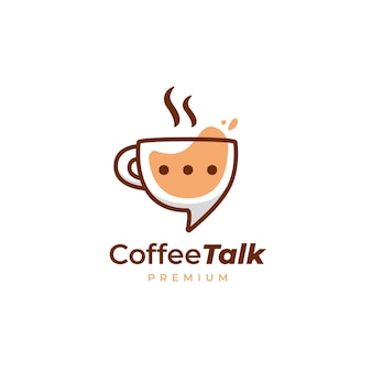 楽しいスタイルのコーヒートークロゴ、コーヒーカップマグカップディスカッションロゴアイコン