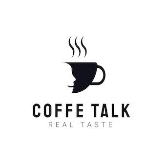 Coffee talk logo template. modern vintage coffee shop labels. vector icon illustration
