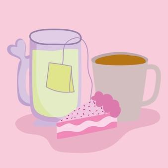 커피 차와 케이크