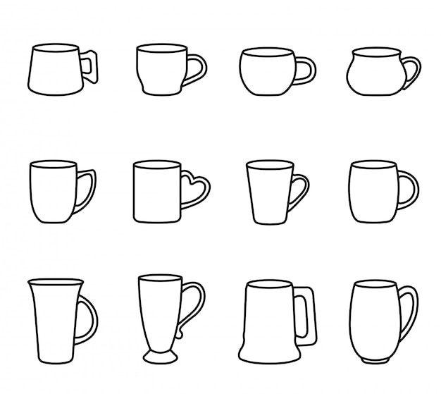 Coffee and tea cup icon set with white background. thin line style stock vector.