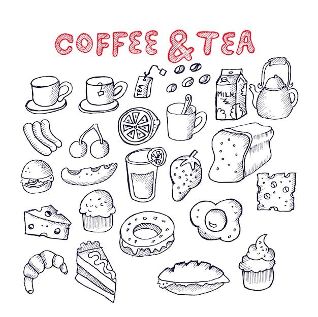 Coffee and tea, doodle set