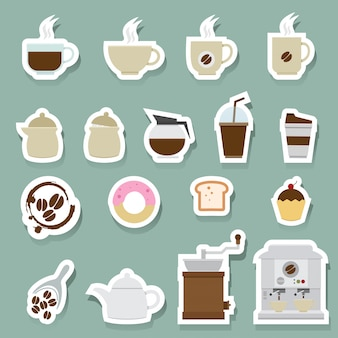 Coffee and tea icons set