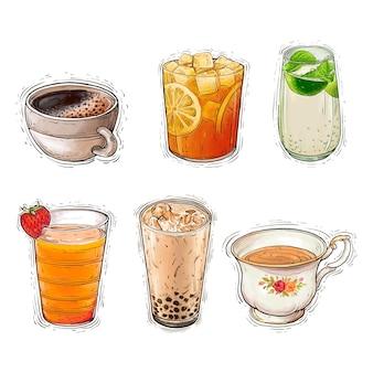 Coffee tea lemon iced boba tea and lemonade beverages watercolor illustration