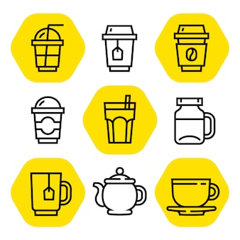 Coffee and tea outline icon set