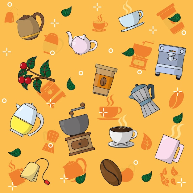 Coffee and tea pattern background