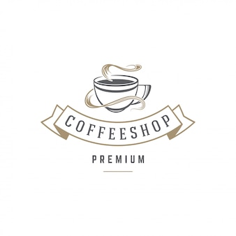 Coffee or tea shop emblem template cup silhouette with retro typography vector illustration